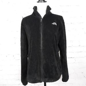 North Face Wmns Black Zip-Front Sherpa Jacket L
